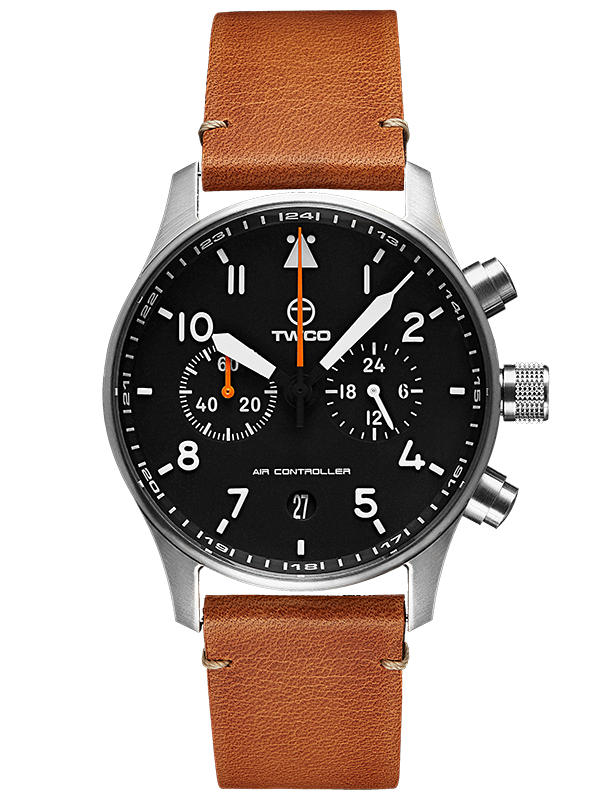 Air Controller Chronograph cognac leather strap